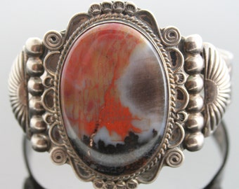 Vintage Sterling Silver and Agate Cuff Bracelet