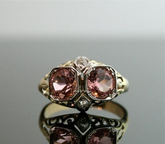 Vintage Owl 14k Tourmaline and Diamond Ring