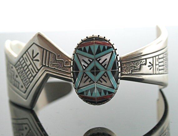 Vintage Navajo Sterling Silver and Inlaid Cuff Bracelet
