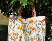 """Vintage Upcycled Farm Life Tote """"From an Early Applique Quilt"""""""