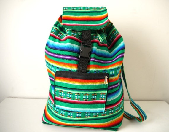 Tribal Fabric Backpack, Latin American, Peru, Bright Green Stripes