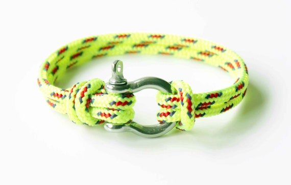 Bow Shackle Nautical Bracelet - Neon Yellow