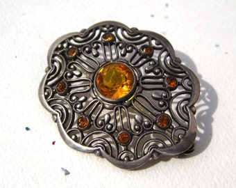 Antique 1930s  Silver Brooch Pin with Honey Colored Citrines.