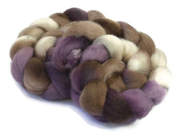 Falkland Roving / Top, Purple and Brown, 3.5oz/100gm