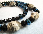 Crazy Lace Agate and Faceted Glass Beads