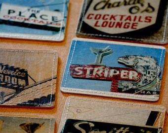 Dive Bar Photo Coasters Handmade from Upcycled Cardboard