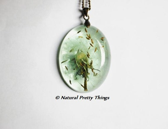 Dandelion Necklace Dandelion Seeds Green Make a Wish Mint Aqua Fluffy Seeds Real Flower Oval Summer Resin Pendant