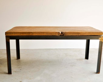 "Aged metal and reclaimed barn wood coffee table ""The Adrian"""