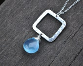 Silver square blue necklace