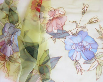 Long silk chiffon scarf Hand painted Spring fashion Lime green blue red flowers - made TO ORDER