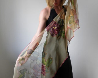 Silk scarf hand painted, chiffon scarf, floral scarf, silk art, woman scarves, handmade gift her - made TO ORDER