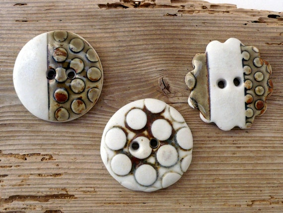 Olive and cream porcelain button collection. XL Ceramic Buttons.