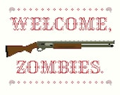 2 Cross Stitch Patterns -- Welcome Zombies pattern set