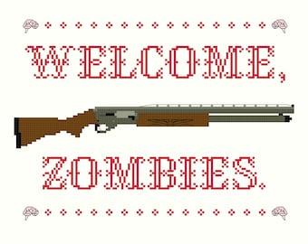 2 Cross Stitch Patterns -- Welcome Zombies pattern set