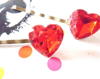 A Pair of Ruby Red Jewel Heart Bobby Pins Hair Grips Slides