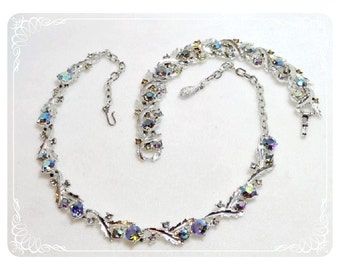 Vintage Leaf & Aurora Borealis Rhinestone Necklace and Bracelet Set  Demi-1536a-040212000