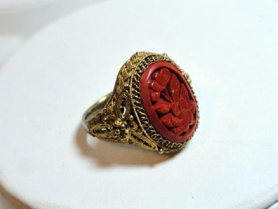 Reserved for Lavinia ) Outstanding Cinnabar & Sterling Ring with a Gold Wash 11583d-052112000