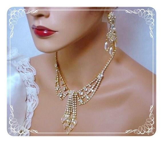 Bride's Dream Collar Necklace & Shoulder Duster Earrings  1780ag-032211000