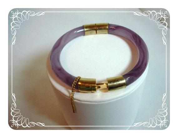 Purple Jade Cuff - Vintage Hinged Bracelet    1006a-042412000