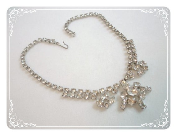 Clear Rhinestone Abstract Necklace - Vintage for Prom or Formal Wear  1282ag-012312000