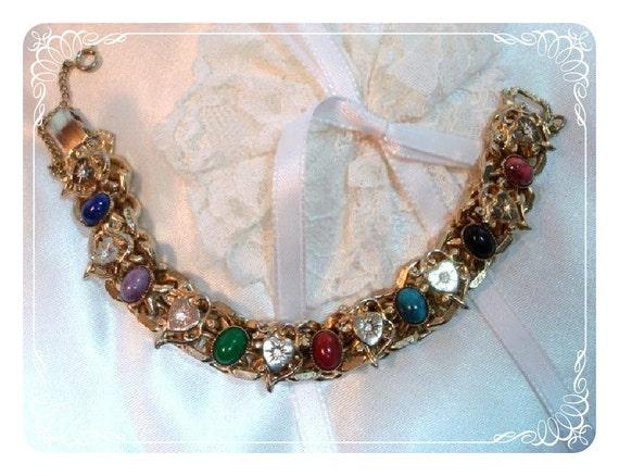 Vintage Hearts & Gemstone Link Bracelet - 1950s Multi Colored   1190ag-012312000