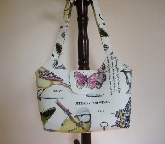Large Tote in Bird and Butterfly Print