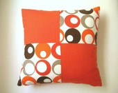 """Patchwork Pillow Cover - Cream, Brown, Orange, Beige Linen Fabric - 18x18"""" - Gift for Her, for Mom - Ready to Ship Decor"""
