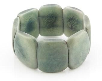 Tagua Seed Bracelet / Tagua Nut Jewelry / Tagua Bracelet / Statement Bracelet / Stone Green Bracelet / Seed Jewelry / Fair Trade Bracelet