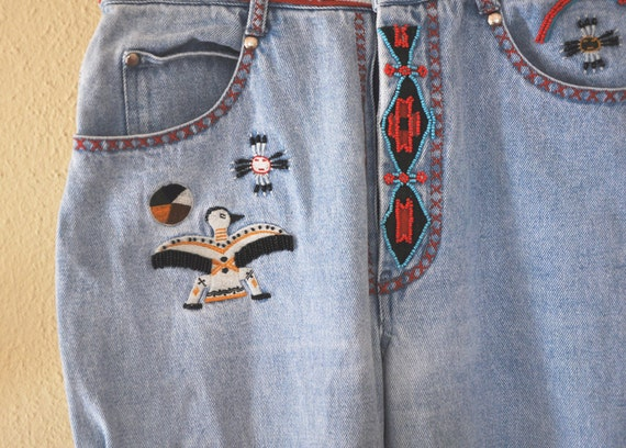 Native American Embroidered Beaded Jeans
