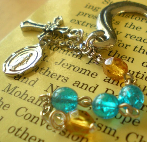 Amber and Turquoise Beaded Metal Rosary Bookmarker