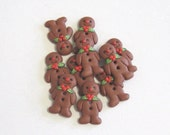 Gingerbread Men Buttons Set of 5