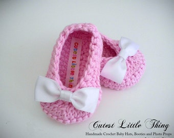 Crochet Slippers, Baby Booties, Baby Girl Shoes, Crochet Baby Booties,  Pink Shoes, Bow Booties, Baby Girl,  Newborn Booties