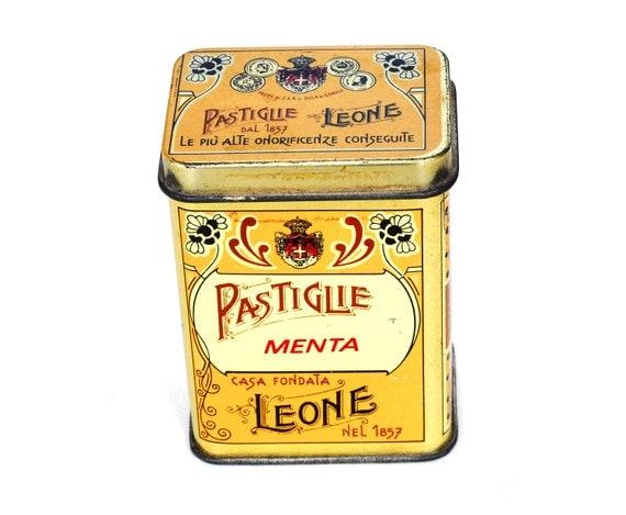 Italian Small Tin Candy Box Leone