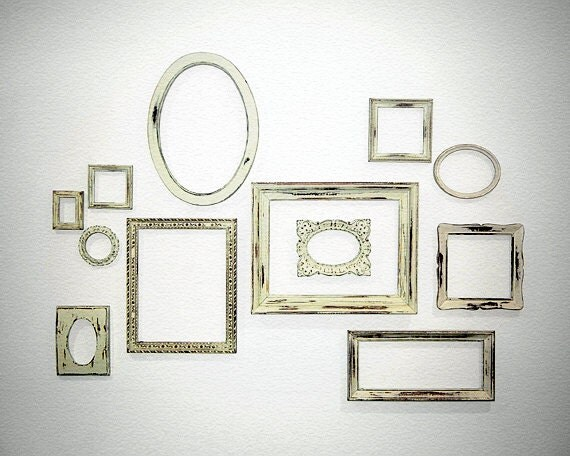 SALE -12 Mixed FRAMES - Large Complete Shabby Chic Gallery Wall Ready to Hang in Rustic Ivory Empty Frame Collection