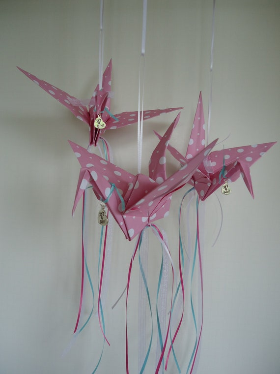 3 pink baby shower hanging origami bird party decorations