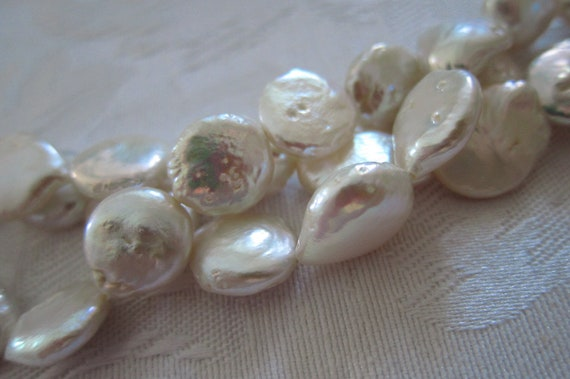 Cultured Freshwater Pearls, Bleached White, 10mm to 12mm Flat (Irregular) Rounds - 6 Pearl Beads (or, 3 Pairs) per package