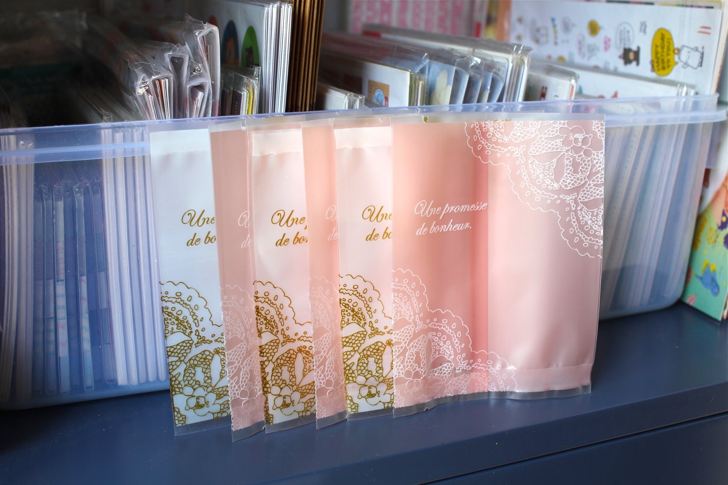 20 White and pink lace printed cellophane bags by RhinoandRoo