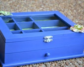 Blue Wooden Jewelry Box with Glass top and 1 drawer