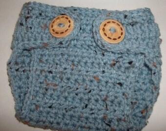 "Crochet Baby Diaper Cover "" Blue Fleck "" Newborn  Diaper Cover, Nappy Cover,Newborn Photo Prop Made To Order"