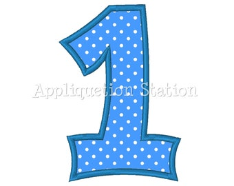 Number One Plain1st Birthday Applique Machine Embroidery Design blue first  INSTANT DOWNLOAD