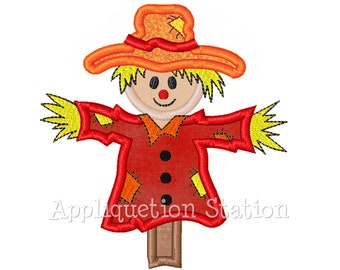 Scarecrow Applique Machine Embroidery Design orange harvest thanksgiving Fall INSTANT DOWNLOAD