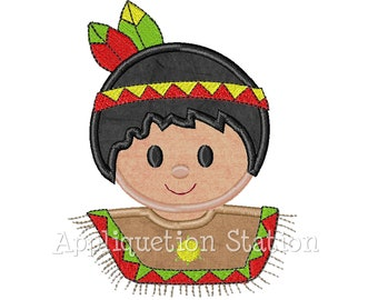 Indian Boy Thanksgiving Applique Machine Embroidery Design harvest Fall INSTANT DOWNLOAD
