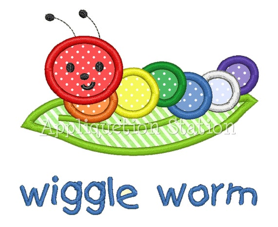 Wiggle Worm Rainbow Caterpillar Applique Machine Embroidery Design boy/girl baby insect bug INSTANT DOWNLOAD