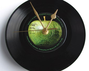 "The BEATLES Vinyl Record CLOCK recycled 7"" single ""Let It Be"" Fab gift for fans dad mum brother in law grandparent grandpa grandad sister"