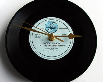 """Jackie Wilson Vinyl Record CLOCK from recycled 7"""" single """"I Get the Sweetest Feeling"""" or """"Reet Petite"""" Soul Motown Blues R&B"""