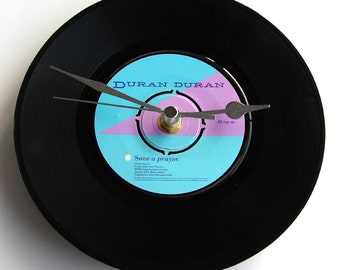 "DURAN DURAN Vinyl Record CLOCK ""Save a Prayer"" recycled 7"" single. Great for Duran fans, 80s pop fashion hipster"