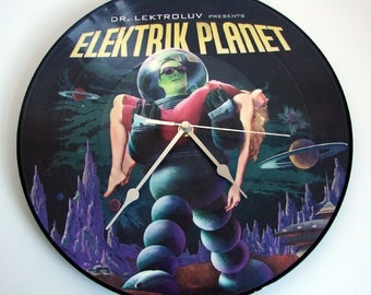 """Elektrik Planet CLOCK made from recycled 12"""" Picture Disc. Retro Robot Forbidden Planet Collectors Tin Toys Pin Up Girls B Movies"""