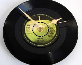 "The Beatles John Lennon Vinyl Record CLOCK made from recycled ""Imagine"" 7"" record. Great birthday gift for Beatles fan black green apple"