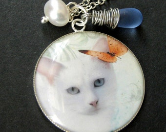White Cat Necklace. Kitten Charm Necklace with Clouded Blue Teardrop and Fresh Water Pearl. Handmade Jewelry.