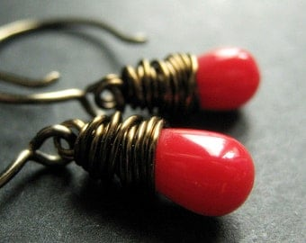 BRONZE Earrings - Red Coral Earrings. Teardrop Earrings. Wire Wrapped Earrings. Handmade Jewelry.